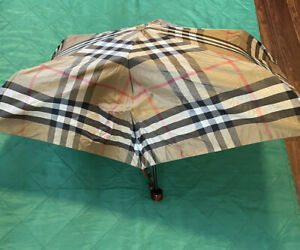 Authentic Burberry Umbrella Nova Check Plaid Small Compact Folding - BROKEN