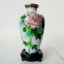 """Cloisonne Vase 9.25"""" chrysanthemums butterfly mid century Chinese or Japanese"""
