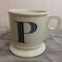 Anthropologie Monogram Letter P Alphabet White Black Shaving Style Mug Cup