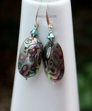 Abalone Shell Earrings made with Scarabaeus Green Swarovski Crystal Handmade new