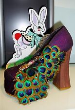 IRREGULAR CHOICE BEST OF ALL SHOES PURPLE 5.5 OR 6.5 PUMPS PEACOCK FEATHERS NIB