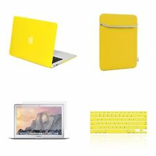 "4 IN 1 Macbook Air 13"" Yellow Rubberized Hard Case + Keyboard Cover + LCD + Bag"