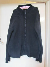 Mens Navy Blue Ribbed M&S Zip Up Cardigan in Size Large