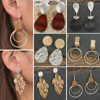 Boho Women Leather Teardrop Dangle Earrings Hook Wedding Jewellery Mother Gift
