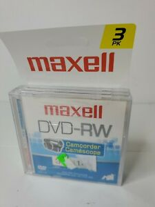 Maxell DVD RW 3 Pack Camcorder 30 min 1.4 GB New Sealed