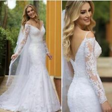 Lace Mermaid Wedding Dresses White Ivory Off Shoulder Spaghetti Train Brial Gown