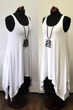 Lagenlook A-Linie-Zwischenlösung-Überwurf-Kleid WEISS Jersey 44,46,48,50,XL,XXL