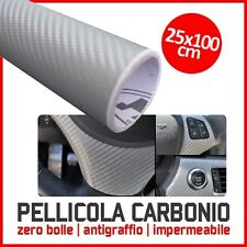 PELLICOLA CARBONIO 3D ADESIVA ADESIVO SILVER 25X100 CM CAR WRAPPING AUTO MOTO