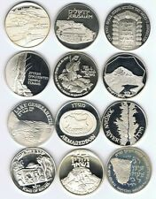 ISRAEL HOLY LAND SITES 12 STATE MEDALS 12x 26g STERLING SILVER MASADA,JERUSALEM.