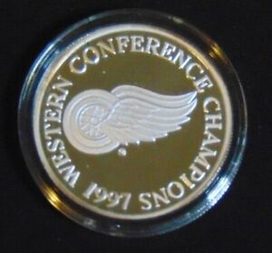 DETROIT RED WINGS .999 SILVER COIN 1997 ENVIROMINT STANLEY CUP CONFERENCE ROUND