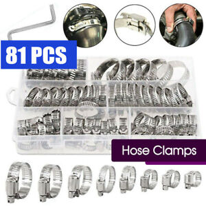 81X Stainless Steel Hose Clamps Clips Adjustable Range Worm Gear Pipe Clamp Kit