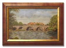 EKSTRAND / OLD STONE BRIDGE- Original Swedish Oil Painting from 1950