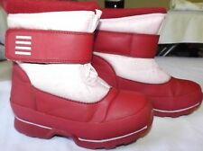 Lands End youth US 12M red and pink snow boots velcro VGUC