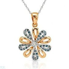 EXQUISITE SOLID 10K TWO TONE GOLD 0.28 CTW SI1-SI2 BLUE DIAMOND NECKLACE U$1970