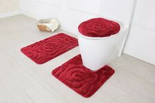 Hotel Collection 3 Piece Premium Prestige Bath rug set 100% Polyester (Burgundy)