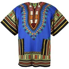 Cotton African Dashiki Mexican Poncho Hippie Boho Shirt Blouse Blue ad07s2