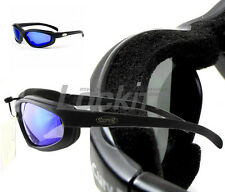 Curv-Z foam insulated motorcycle skydive glasses Black - Jet Blue lens 02-19