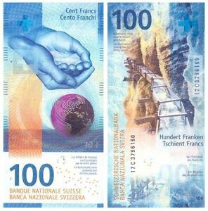 UNC Sign #1 Switzerland Swiss 100 Francs 2017 2019