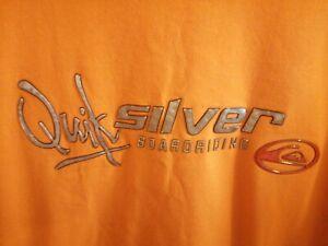 Men's Vintage Quiksilver Orange Reflective T-shirt Size XL