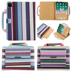 For Apple iPad Series Stripe PU Leather Smart Stand Case Handbag Pocket Cover