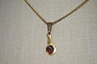 Amber Stone Nugget Gold Tone Teardrop Vintage Pendant Necklace