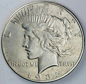 1935 United States Peace One Silver Dollar $1 - AU About Uncirculated