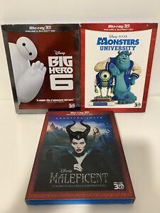BIG HERO 6 + MONSTER UNIVERSITY + MALEFICENT Disney Pixar Blu Ray Digipack 3D+2D