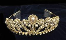 "Crystal Clear Rhinestone & White Pearls With Combs.Gold Plated Tiara. 2"" Tall"