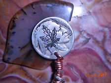 19xx Hobo Nickel Clip Hand Engraved Cannabis Leaf