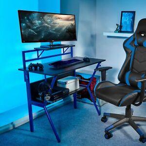 Neo Ergonomic 2 Tier Gaming Desk with Headphone Hook Monitor Stand & Shelf