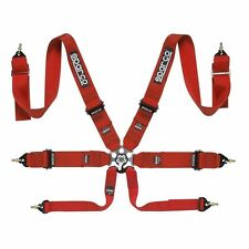 SPARCO 6PT 6 POINT COMPETITION RACING SEAT BELT HARNESS UNIVERSAL FIA SFI RED