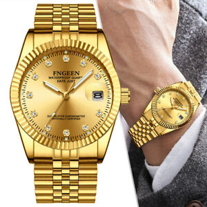 Waterproof Stainless Steel Quartz Watch Luxury Durable Wrist Watch Gold Men