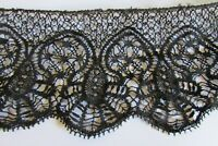 Beautiful Antique French Length Le Puy Black Lace c1880 6ft 4""