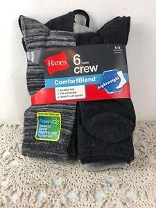 Hanes Mens Casual Dress Lightweight Crew Socks Shoe Size 6-12 Large 6-Pair New