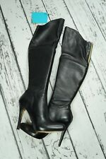 ANNA DELLO RUSSO H&M Black Leather The Knee Stiefel Overknees Boots EUR 38 US7 7