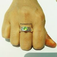 Peridot Stone 925 Sterling Silver Spinner Ring Meditation Statement Jewelry A68