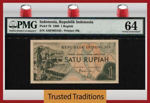 TT PK 76 1960 INDONESIA REPUBLIK INDONESIA 1 RUPIAH FARM PMG 64 CHOICE UNC!
