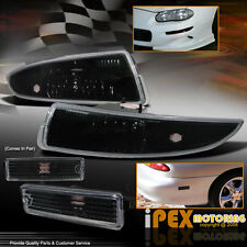 (Front+Rear) 1993-2002 Chevy Camaro BLACK Signal Bumper Side Marker Light Lamp