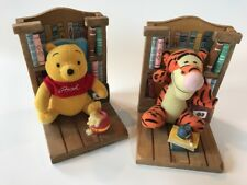 Walt Disney Wooden Plush Bookends Winnie the Pooh and Tigger Birthday Vintage