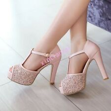 Lady Glitter Sequin Peep Toe T Strap Platform High Heels Wedding Sandals UK2-8