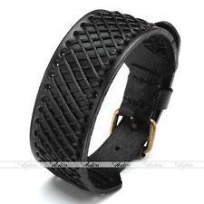 Black Hemp Braided Genuine Leather Mens Wristband Belt Bangle Bracelet Rock Punk