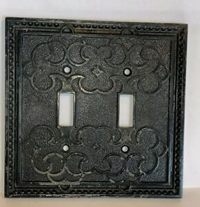 Vintage MCM GENERAL ELECTRIC Metal 2-Gang Toggle Switch Wall Plate