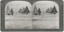 Canadian Winter Sports Ice Yachting Boats -Keystone Stereoview Stereocard