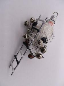 "Patricia Breen Designer Glass Christmas Ornament Santa Claus Ladder Bells 5""Tall"