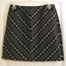 Ann Taylor Loft Petites womens skirt size 12 petite black white geometric floral