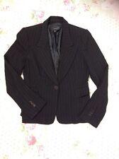 Classic ZARA WOMAN Black Pinstripes Blazer Jacket With Wool-sz 10: Chest 38.