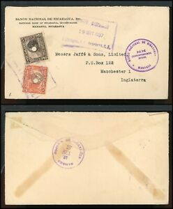 Nicaragua Postal History LOT #11 1937 OFFICIAL 8c Punched MANAGUA - MANCHESTER $