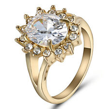 6.80/ct Lab diamond White Sapphire Wedding Ring 10KT Yellow Gold Jewelry Size 6
