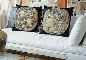 PAIR of Fornasetti Authentic Large Cushion NUMMUS Male Female Rare Discontinued