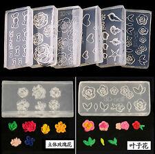 6pc Clear Silicone 3D DIY Nail Art Mould Flower Design UV GEL Acrylic Powder Kit